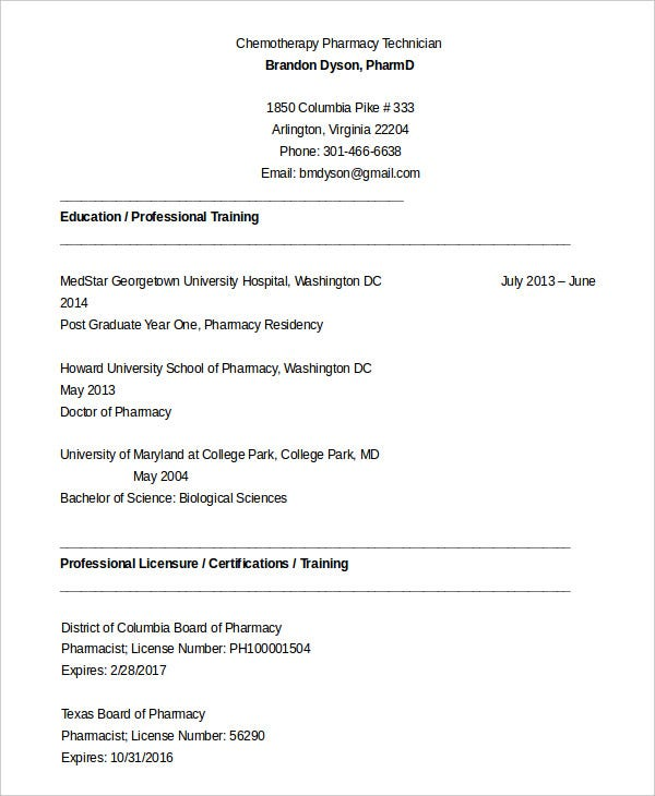 10 Pharmacy Technician Resume Templates Pdf Doc Free