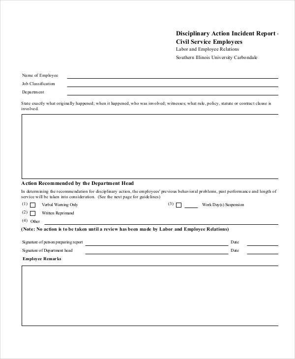 disciplinary-action-incident-report-template