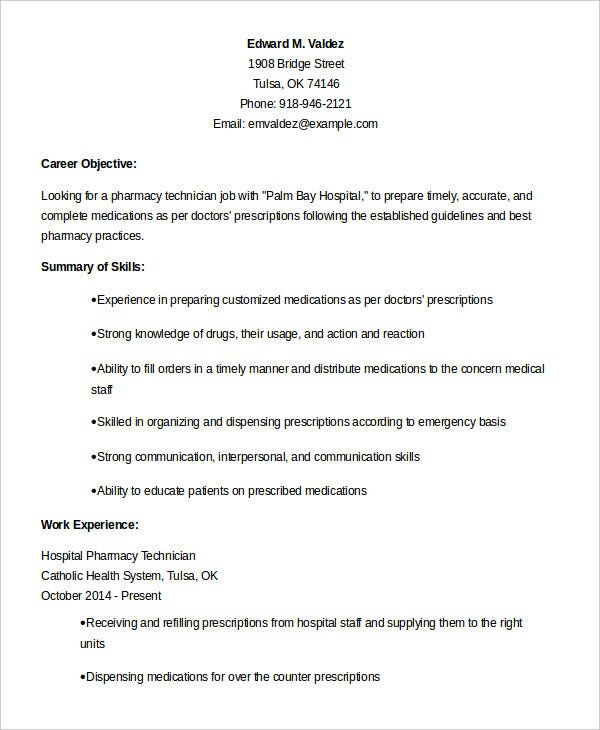 Experienced Hospital Pharmacy Technician Resume Template Example