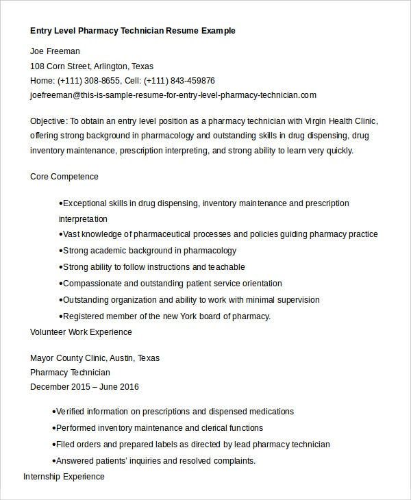 resume-for-entry-level-pharmacy-technician