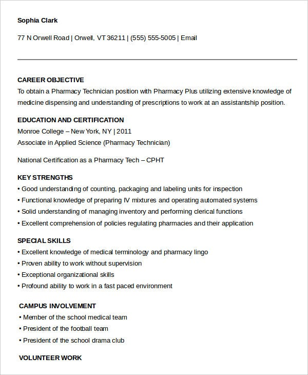 No Experienced Pharmacy Technician Resume Example  Pharmacy Technician Resume Objective