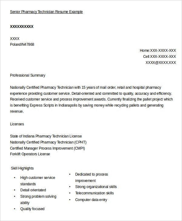 senior pharmacy technician resume example