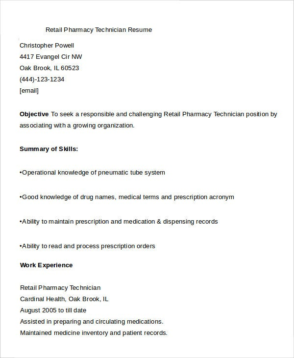retail pharmacy technician resume template example