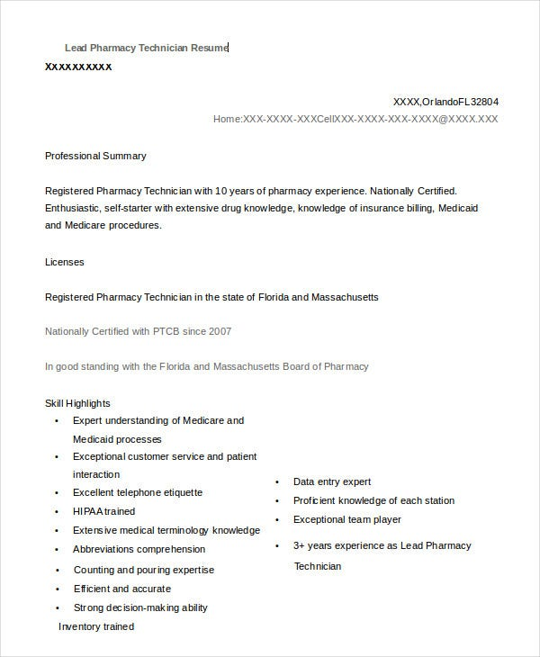 Example Lead Pharmacy Technician Resume Template Download  Resume Examples For Pharmacy Technician