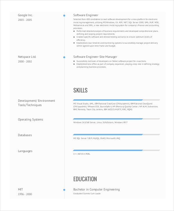 software engineer resume template in pdf