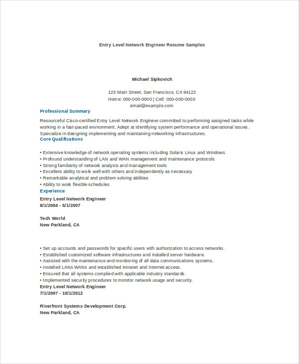 entry level network engineer resume sample