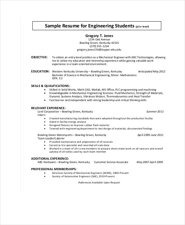 sample engineering student resume template