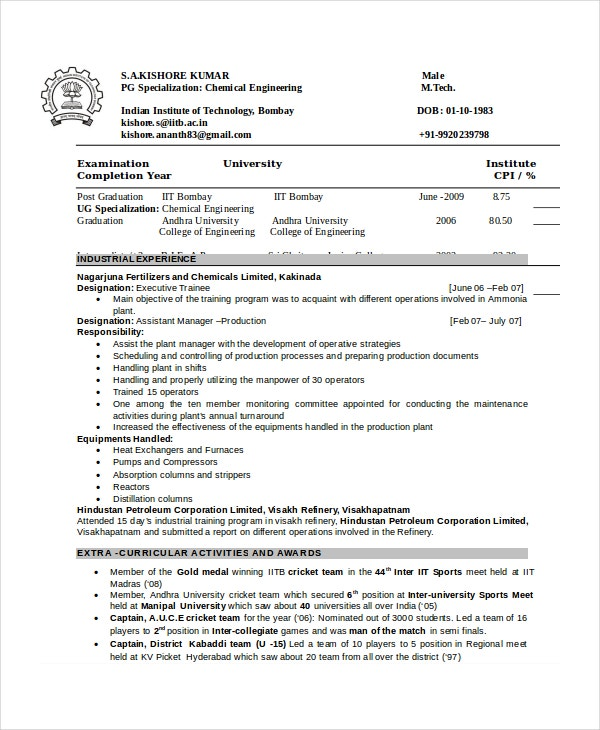chemical engineering resume template download