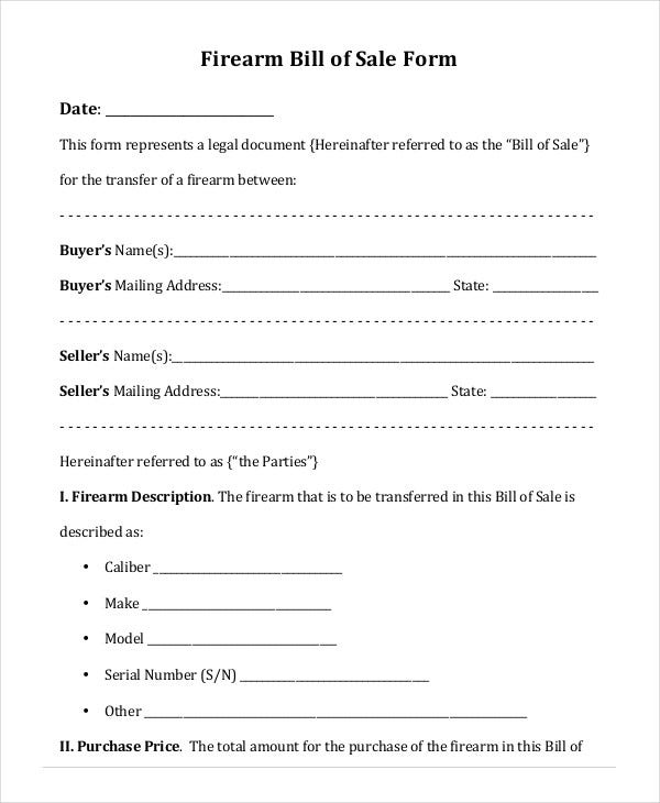 Blank Bill Of Sale Template For Firearm