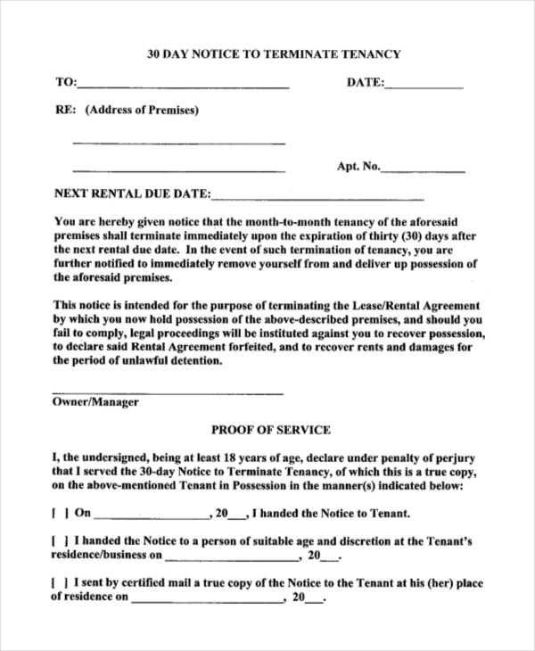 Rental Termination 30 Day Notice Letter