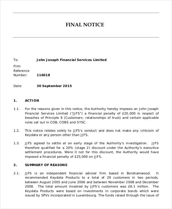 15 Notice Letters – Sample Final Notice Letter