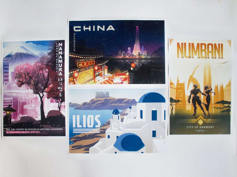 4 Sets of Travel Posters