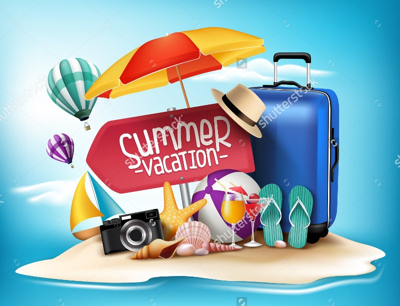 3d realistic summer vacation poster