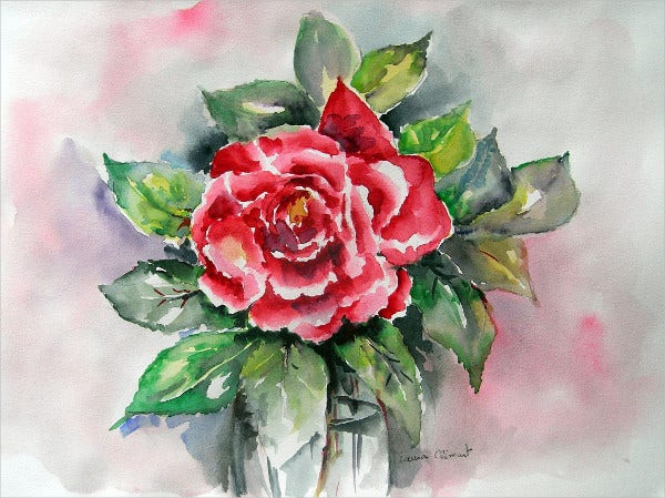Watercolor Rose Drawing