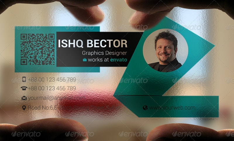 blue transparent business card