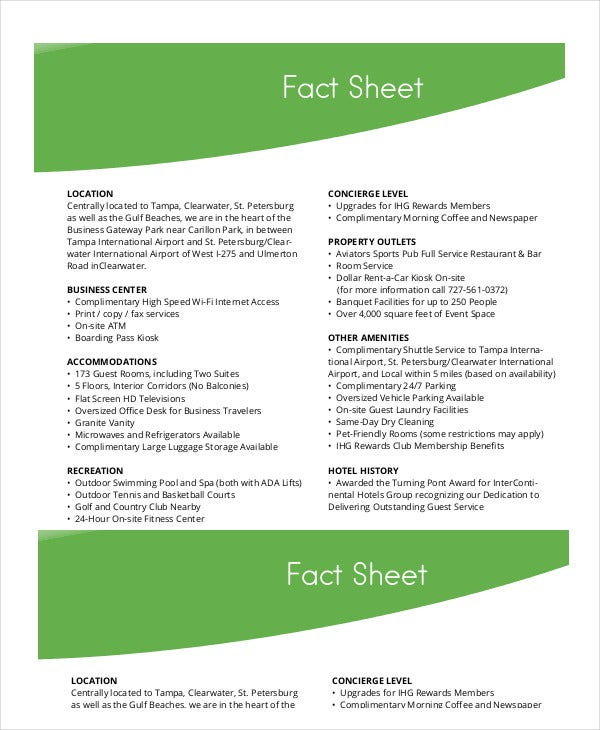 hotel fact sheet template