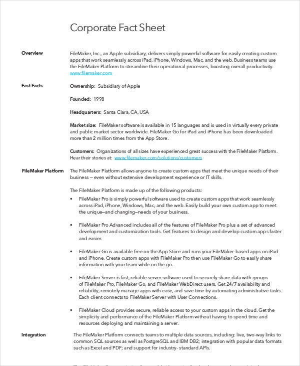 corporate fact sheet template