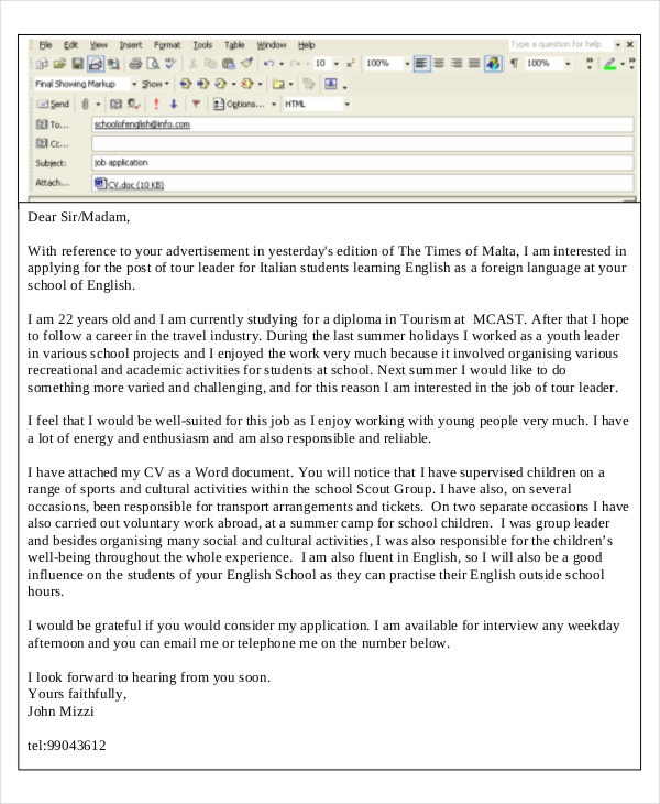 email reference letter