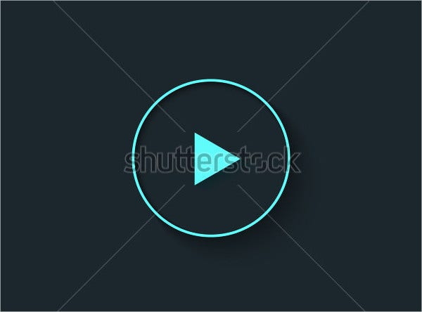 Big Play Button in Flat Style