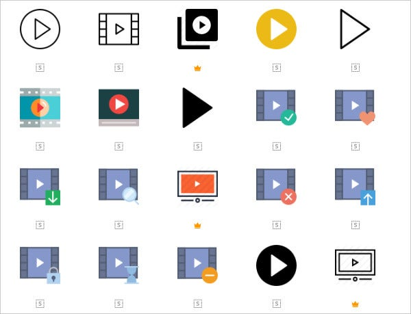 Differnt Style Play Button Icons