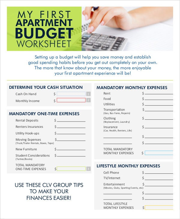 Monthly Budget Worksheet 12 Free Word Excel PDF Documents – Interactive Budget Worksheet