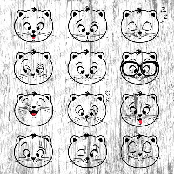 12 Cats Emoji clipart