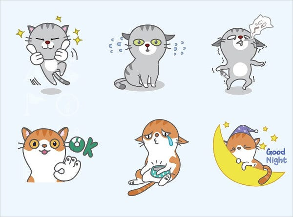 16 cat vector emoticons