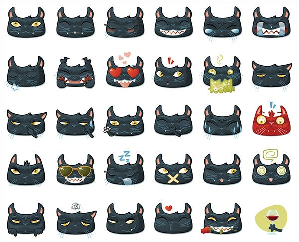black cat emojis