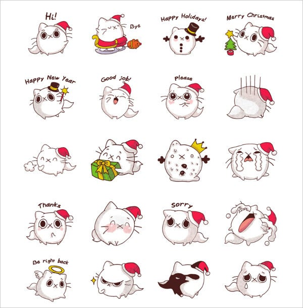 Cat Winter Christmas Emojis
