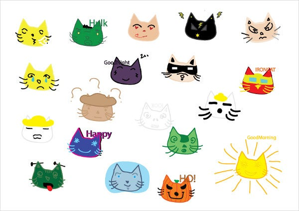 colorful cat emojis
