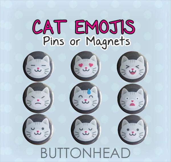 Funny Cats Emoji Pins