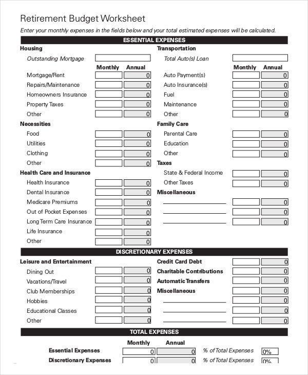 Monthly Budget Worksheet 12 Free Word Excel PDF Documents – Budget Worksheet