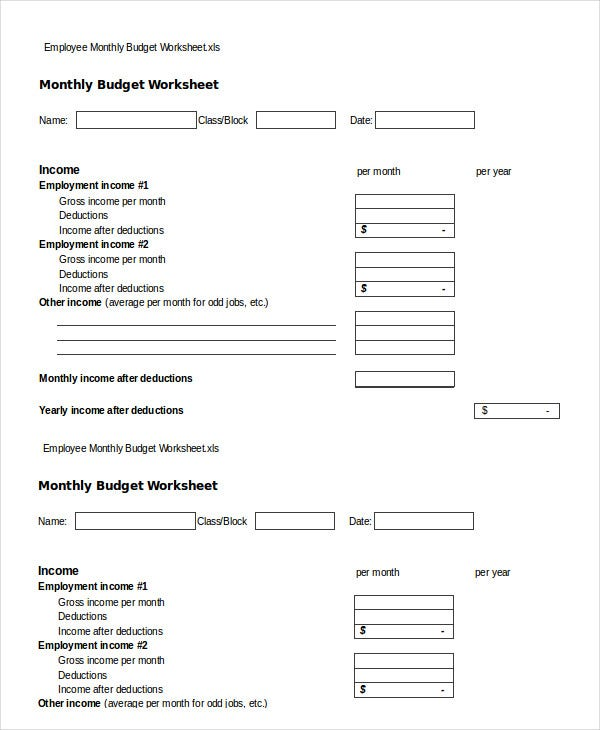 Monthly Budget Worksheet 11 Free Word Excel PDF Documents – Income Worksheet