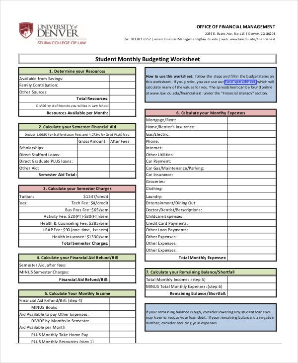 College student monthly budget worksheet