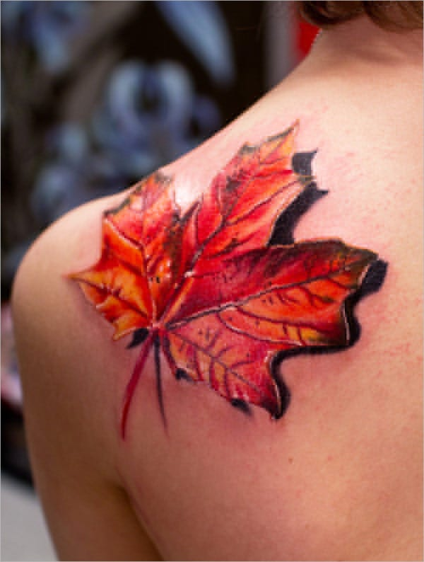 Fall Leaf 3D Tattoo