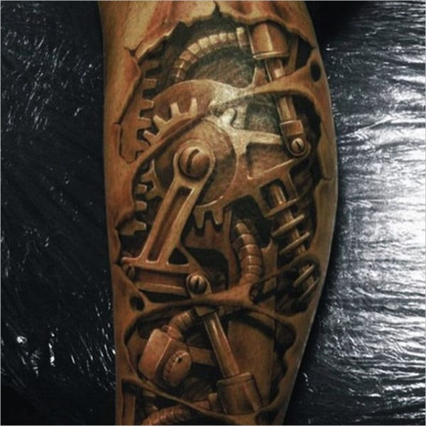 Machinery Design 3D Tattoo