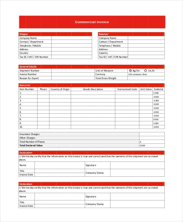 commercial invoice - 10+ free pdf, word documents download | free, Invoice templates