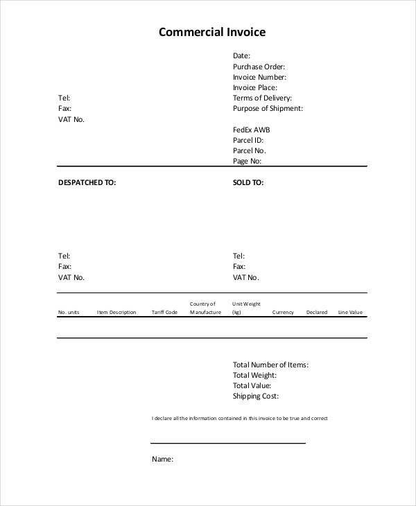 Commercial Invoice   Free Pdf Word Documents Download  Free