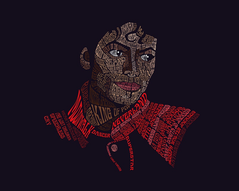 typography portrait of michael jackson