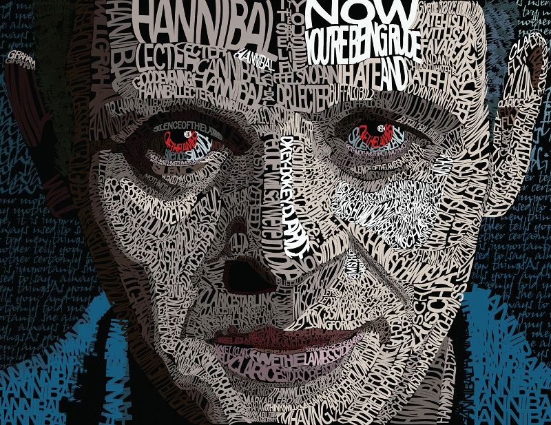 Typography Portrait of Hannibal Lecter