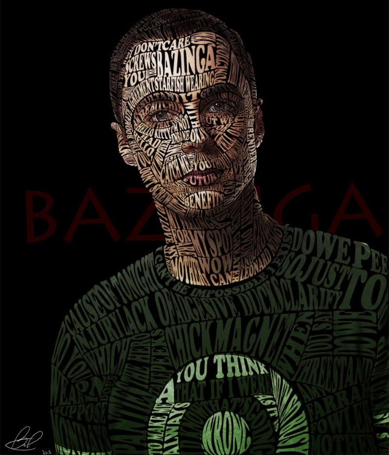 Typographic Portrait Sheldon Cooper