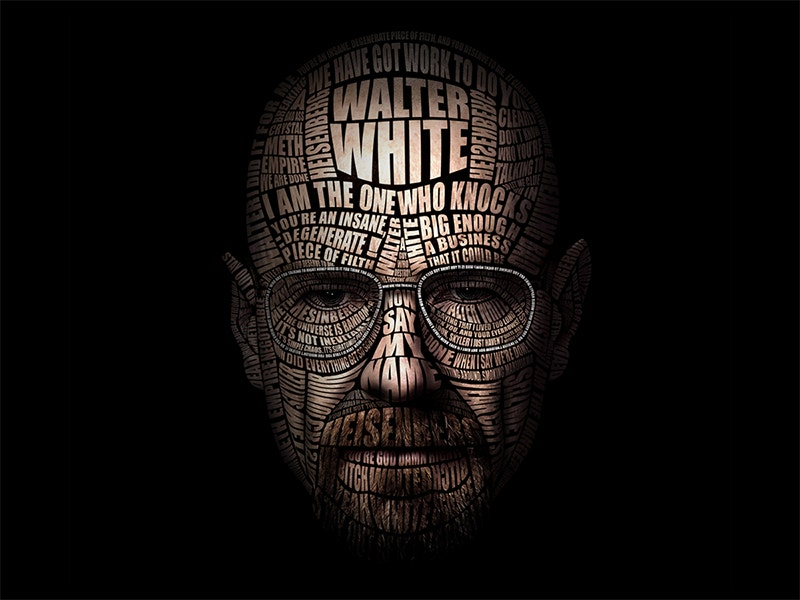 typographic portrait of walter white