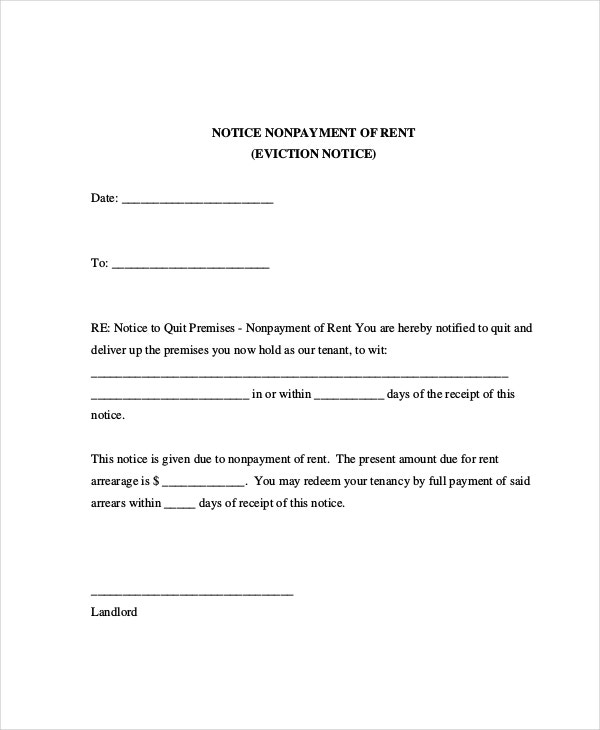 Eviction letters 7 free pdf word documents download free eviction letter for non payment of rent spiritdancerdesigns Images