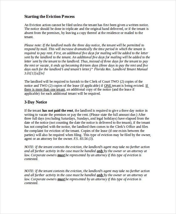eviction letters 8 free pdf word documents download