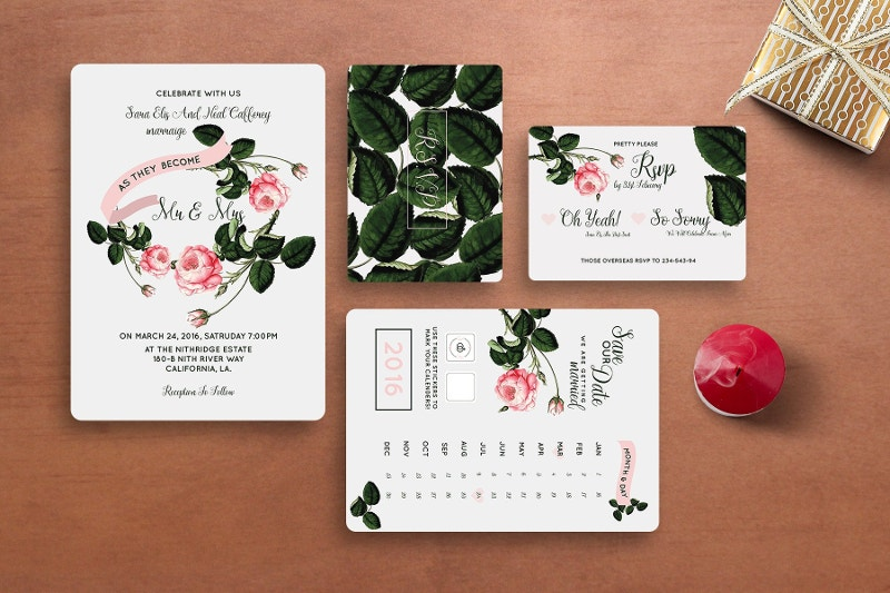 Rose Wedding Invitation Set