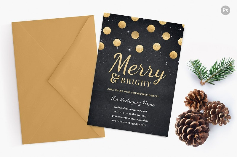 Gold Confetti Holiday Party Invite