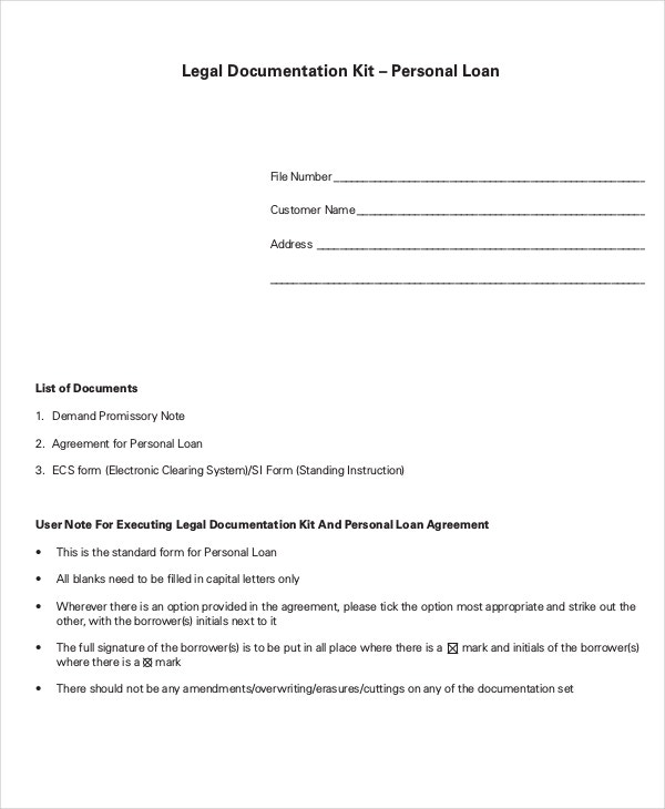 Personal Loan Agreement Template  Loan Document Template