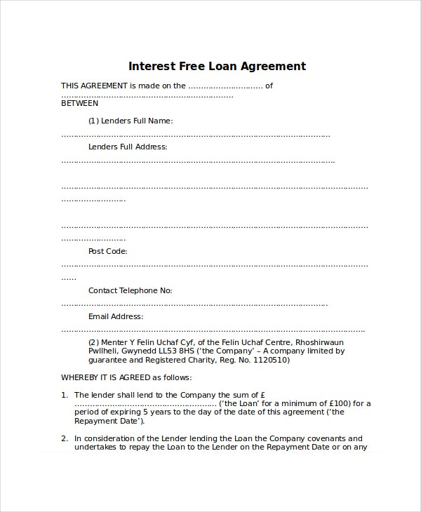 Interest Free Loan Agreement  Loan Agreement Form Free