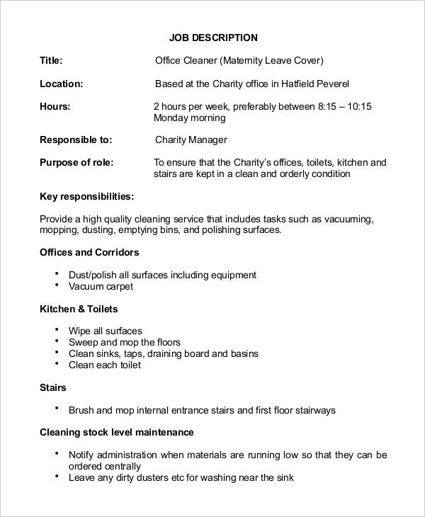 Janitor Job Description Templates  Pdf Doc  Free  Premium