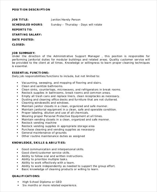 Janitor Job Description Example   Free Word  Documents
